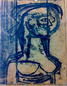 Monoprint Untitled Nude by John Shelton 1966 - sold Aug 2013