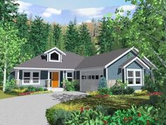 House plans craftsman ranch vaulted ceilings 56 ideas for 2019 Small Cottage House Plans, Small Cottage Homes, Porch House Plans, Basement House Plans, Simple House Plans, House Plans One Story, House Plans And More, Craftsman Style House Plans, Bedroom House Plans