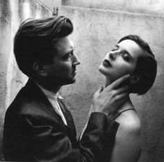 David Lynch and Isabella Rossellini on the set of Blue Velvet , 1988 by Helmut Newton