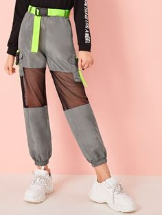 To find out about the Girls Neon Buckle Mesh Insert Wind Pants at SHEIN, part of our latest Girls Pants & Leggings ready to shop online today! Girls Fashion Clothes, Teen Fashion Outfits, Edgy Outfits, Cute Casual Outfits, Dance Outfits, Tween Fashion, Kids Clothing, Cute Girl Outfits, Kids Outfits Girls