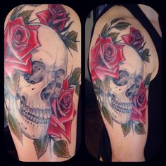 Tattoo by Nick Stegall- skull & roses