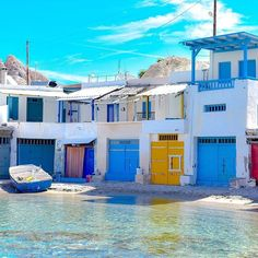 Klima, Milos, Cyclades... Photo from @meltheokris! Klima is a traditional fishing village with very few inhabitants and multicolored two-storeyed houses in the natural concavities of the rocks!