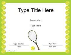 Free printable tennis certificates and awards sports awards sports certificates tennis award certificate certificatestreet yadclub Choice Image