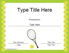 Tennis Gift Certificate Template Free Tennis Certificate