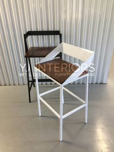 Handcrafted Wood and Metal Frame Bar Chair Model Name: Emily