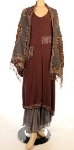 KEKOO FUNKY MIX AND MATCH. A cross between a kimono and an Edwardian gown, in earth tones. Interesting.