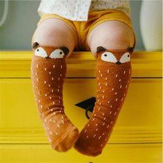 1 Para Unisex Piękny Cute Cartoon Fox Dzieci dziecko Podkolanówki dziewczyna Chłopiec Dziecko Maluch Skarpety zwierząt niemowląt Miękkie Bawełniane skarpetki 0-3 Y