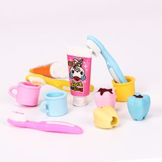 4PCS/Set Kawaii Lovely Toothpaste Eraser Teeth Eraser Removable Rubber Stationery Kid Gift