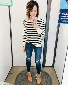 Black and white striped sweater, distressed skinny jeans, camel booties