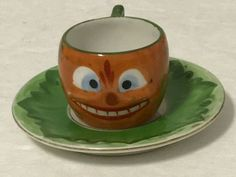 Vintage Halloween Minature Small Tea Cup & Saucer German Early 1900's