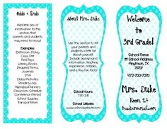 Customizable Tri-Fold Classroom Brochure!  All you do is fill in your classroom information and policies!  Print & hand out to parents at Meet the Teacher Night.  Must have for Back-to-School!!!!