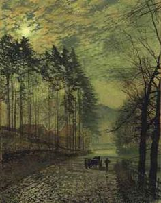 JOHN ATKINSON GRIMSHAW (1836-1893)  NEAR HACKNESS, A MOONLIT SCENE WITH PINE TREES