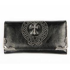 Tekonahkainen Niittilompakko -Risti Gothic, Bags, Fashion, Goth, Purses, Moda, Fashion Styles, Taschen, Totes