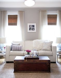 Bamboo blinds, curtains, rug