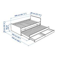 SLÄKT Structure lit av lit tiroir + rangt Blanc 90 x 200 cm - IKEA Cama Ikea, Bed Frame Design, Bed Design, Childrens Single Beds, Bed With Underbed, Sleeping Alone, Bed Frame With Storage, Bed Slats, Home Furniture