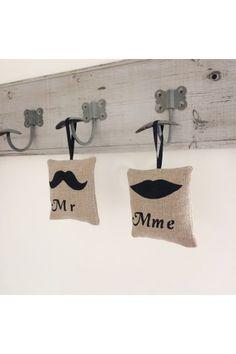 Duo Pampilles MR Mme en Lin - Création Francaise Lucy Jeanne Collection - Cadeaux pour les mariés