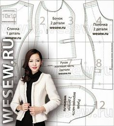 Free sewing pattern: Chanel type jacket                                                                                                                                                                                 Más