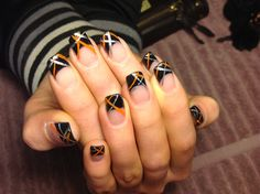 Black french with painted lines nail art