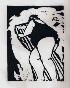 ✦   'les rayures à la mer'   -  charlotte bassatt  -  linocut