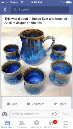 Love this set.the handle on the pitcher is so neat! Glazes For Pottery, Pottery Mugs, Ceramic Pottery, Terracotta, Vases, Ceramic Glaze Recipes, Amaco Glazes, Pottery Techniques, Glazing Techniques