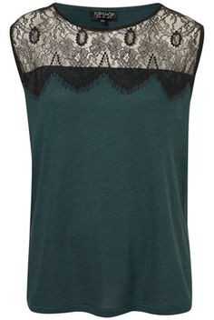 Baroque babe: Pair this luxe lace and emerald op with jeans or a pencil skirt for happily ever after. Fashion Pants, Fashion Dresses, Fashion Fashion, Baroque Fashion, Vintage Fashion, Shell Tops, Refashion, Leather And Lace, Topshop