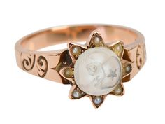 "Victorian ""Man in the Moon"" Moonstone Ring - The Three Graces"