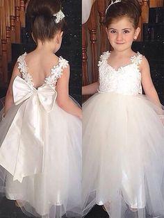 192bb19fa9e32 Ball Gown Sweetheart Tulle Bowknot Sleeveless Floor-Length Flower Girl  Dresses