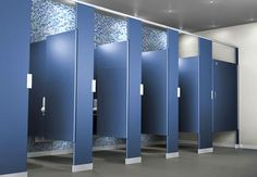 These partitions are the most popular application for commercial restroom design and reconstruction for compartment panels, doors and walls. #toiletpartitions #floormountedoverheadbracedtoiletpartitions #bathroompartitions
