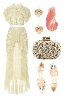 """""""Wedding Guest Ruffles"""" by dominosfalldown ❤ liked on Polyvore featuring Rodarte, Bionda Castana, Annette Ferdinandsen, By Terry, Sarah's Bag, yellow, croptop, lace, ruffles and ruffledtops"""