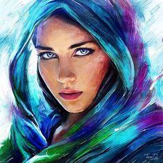 Bellofy (@Bellofy_Art) | Twitter Acrylic Portrait Painting, Watercolor Portraits, Portrait Art, Spiritual Paintings, Royal Art, Canvas Painting Tutorials, Face Art, Beautiful Paintings, Art Drawings