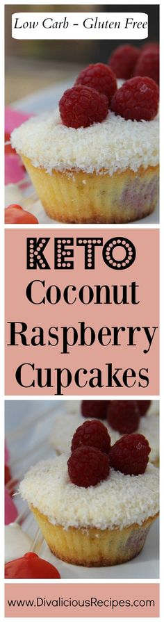 Coconut raspberry cupcakes that are baked with coconut flour. Delicious in flavour and delightfully low in carbs as well as being gluten free.