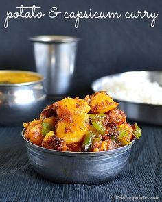 Potato Capsicum Curry Recipe is a dry curry or subji that goes perfectly well as a side dish with both rice or flat breads like chapathis or phulkas.
