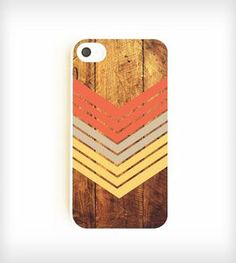 Faux Wood Geometric iPhone Case - Nectarine