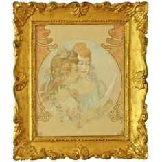 The two girls French Art Nouveau watercolor painting Giltwood frame. c. 1900 unknown