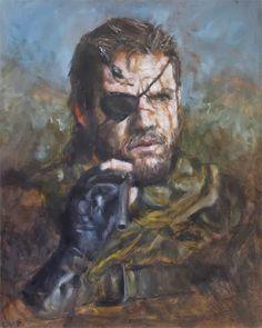 A wonderful painting of Big Boss from Metal Gear Solid V