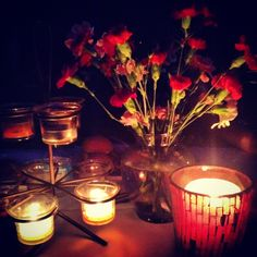 flowers and candles for backyard party