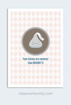 Funny Love Card. Valentine's Day Card. Cute Love Card. Sweeter than Hershey's. €3.25, via Etsy.