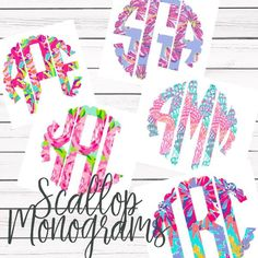 Lilly Pulitzer Scallop Monogram Decal For Yeti Tumblers, Cars, and Tec – First Impression Monograms