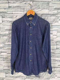 77d2e1882a5 LL BEAN Denim Shirt Small Vintage 90 s LL Bean Usa Jeans Grunge Shirt  Button Up Distressed Denim Western Blue Jeans Oxfords Shirt Size S