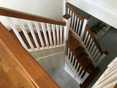 A single winder staircase manufactured using a combination of sapele and primed redwood. Instead of using our standard round nosing, each tread was finished with a square nosing to provide a contemporary look. Glass Stairs, Metal Stairs, Painted Stairs, Wooden Stairs, U Shaped Staircase, Curved Staircase, Staircase Design, Bespoke Staircases, Wooden Staircases