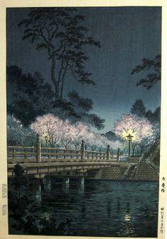 Benkei Bridge at night [Tokyo], woodblock by Tsuchiya Koitsu, (1933) c.1948