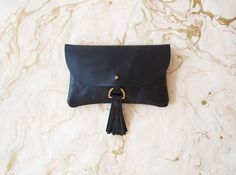 Black Leather Wallet Clutch with Tassel - Traveler Collection
