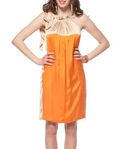 Product Name Tabuu Tie Closure & Ruffle Embellished Two-Tone Color Block Dress at Modnique.com