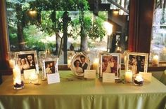 Have a tribute table for a loved one who has passed with different photo frames and tea-lights. You can have note cards stating who they are for guests knowledge.