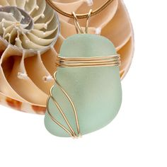 By The Sea Jewelry - Large Seafoam Green Genuine Sea Glass In Goldfilled Triple Necklace Pendant, $48.00 (http://bytheseajewelry.com/18-gold-plated-chain-free/)
