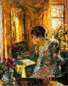 Emil Nolde Woman reading in a room with a mirror 1904