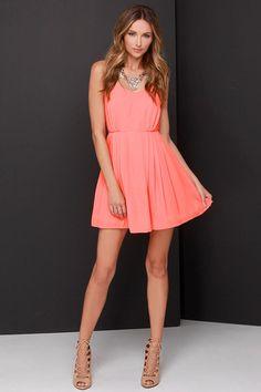 Jack by BB Dakota Renrose Coral Orange Dress. Dress up or down.