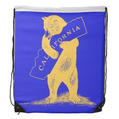 I Love You California--Blue and Gold Cinch Bags