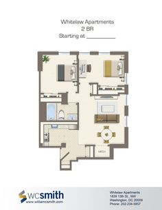 Two Bedroom Floor Plan Whitelaw In Northwest Washington Dc Wc Smith Apartments