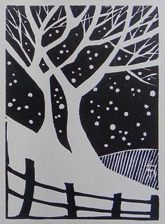 Bare trees in winter - simple relief print Linocut Prints, Art Prints, Block Prints, Lino Art, Linoleum Block Printing, Linoprint, Wood Engraving, Art Plastique, Woodblock Print